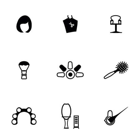 hair clippers: Vector Barber icon set on white background