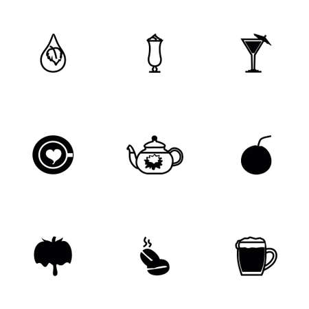 Vector Beverages icon set on white background Vector