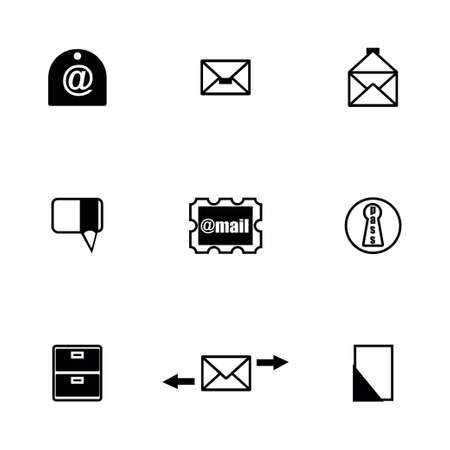 unread: Vector email icon set on white background