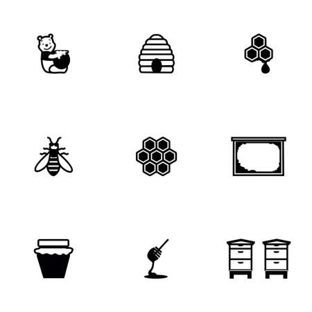 Vector Honey icon set on white background Иллюстрация