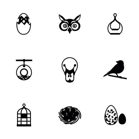 pigeon owl: Vector Bird icon set on white background