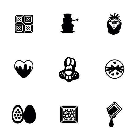 sorbet: Vector Chocolate icon set on white background
