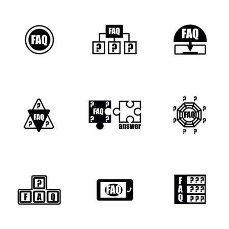 faq icon: Vector FAQ conjunto de iconos en el fondo blanco