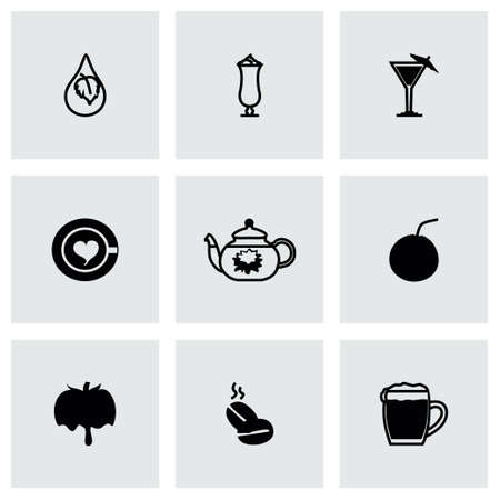 rice wine: Vector Beverages icon set on grey background