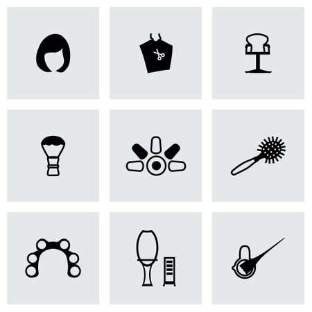 shaving blade: Vector Barber icon set on grey background