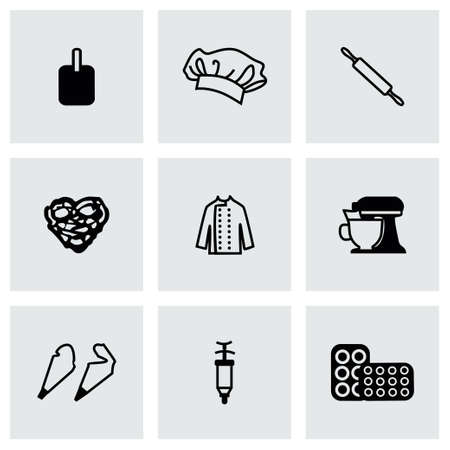 backing: Vector Bakery icon set on grey background Illustration