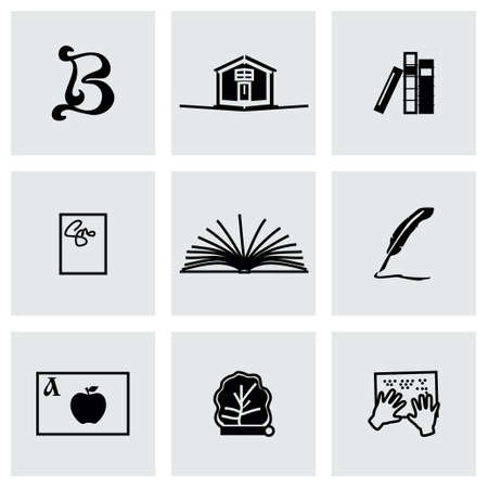 magazine stack: Vector Book icon set on grey background