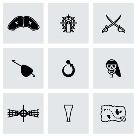 brigand: Vector Pirate icon set on grey background