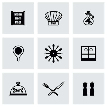 chef s hat: Vector Chef icon set on grey background