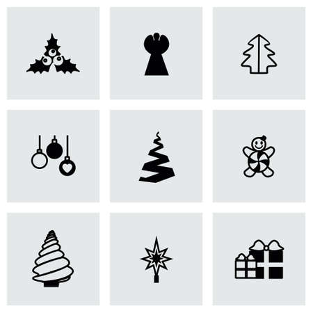 cristmas: Vector Cristmas trees icon set on grey background