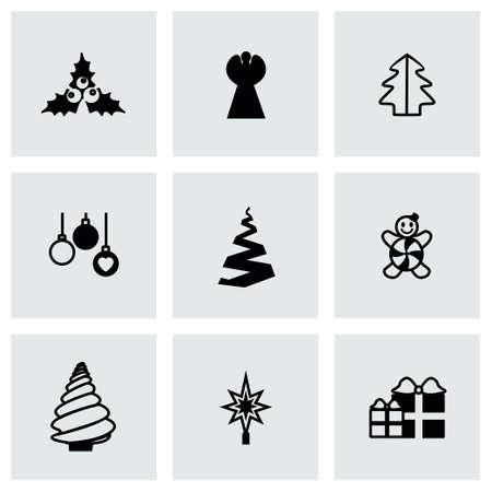 cristmas: Vector Cristmas trees icon set on grey background