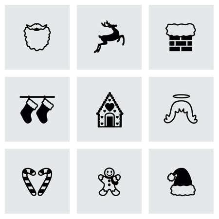 sac: Vector Cristmas icon set on grey background