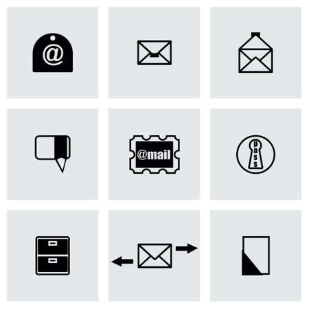 unread: Vector email icon set on grey background