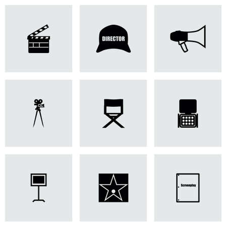 filming: Vector Filming icon set on grey background