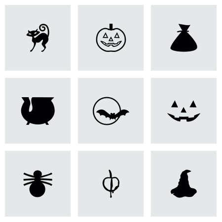 Vector Halloween icon set on grey background