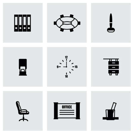 money cat: Vector Office icon set on grey background