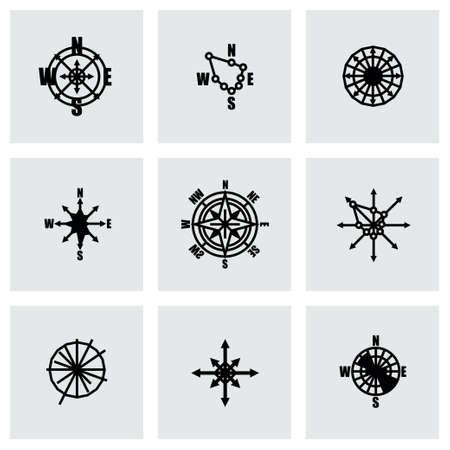 rosa dei venti: Vector rosa dei venti set di icone su sfondo grigio