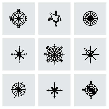 old compass: Vector Wind rose icon set on grey background