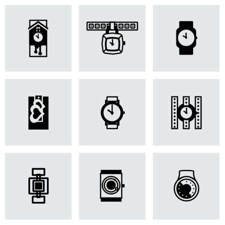 wristwatch: Vector Wristwatch icon set on grey background Illustration