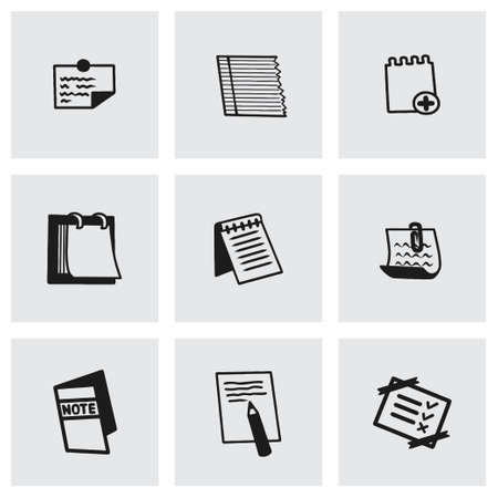 Vector notes icon set on grey background Vector