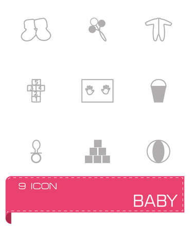 chamber pot: Vector Baby icon set on grey background