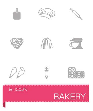 kneading: Vector icon Bakery set su sfondo grigio