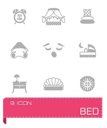 furniture transport: Vector Bed icon set on grey background