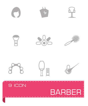 clippers comb: Vector Barber icon set on grey background