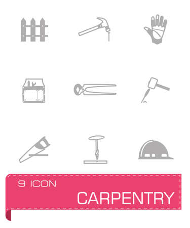 Vector Carpenty icon set on grey background Vector