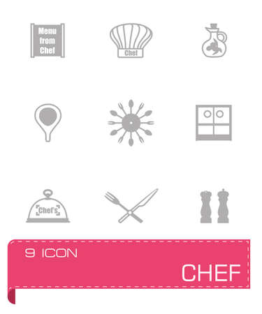 women s hat: Vector Chef icon set on grey background