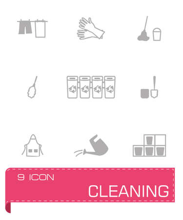 protective glove: Vector Cleaning icon set on grey background