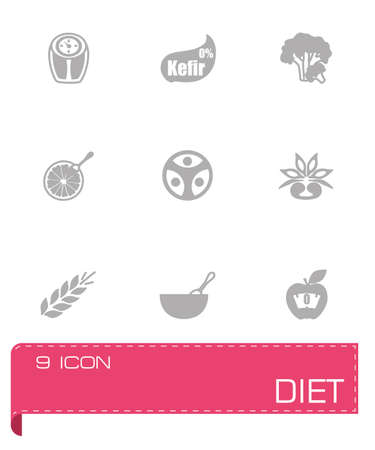 food hygiene: Vector Diet icon set on grey background