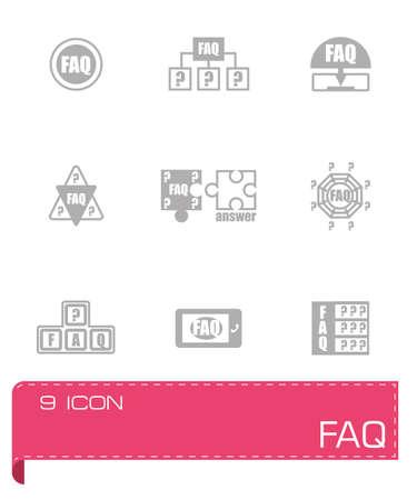 faq icon: Vector FAQ conjunto de iconos sobre fondo gris