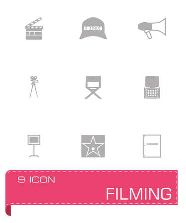 vdo: Vector Filming icon set on grey background
