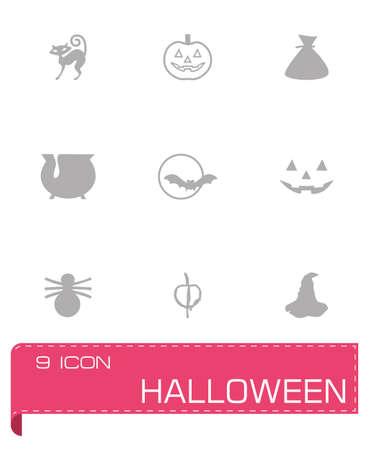 spider' s web: Vector Halloween icon set on grey background
