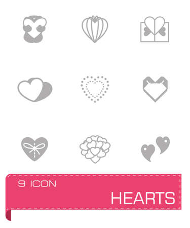 sentiment: Vector Hearts icon set on grey background Illustration