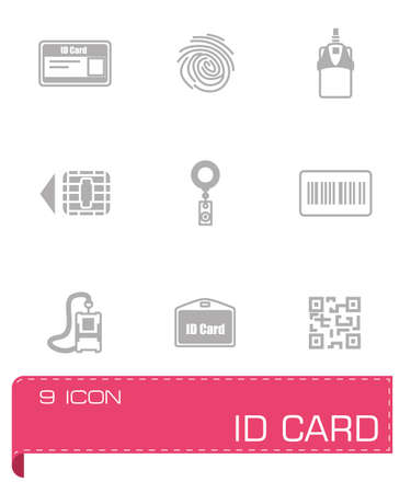 hand holding id card: Vector ID card icon set on grey background Illustration
