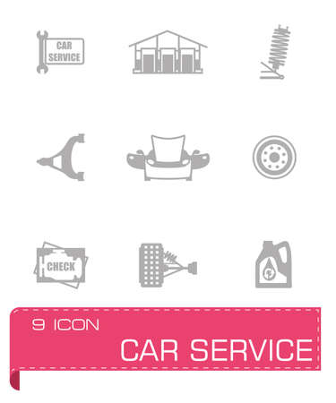 disk break: Vector Car sevice icon set on grey background
