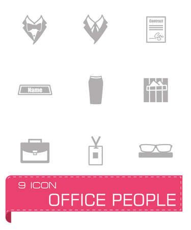 Vector Office people icon set on grey background Vector