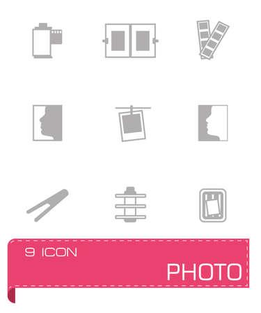 Vector Photo icon set on grey background Vector