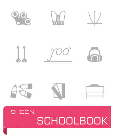 schoolbook: Vector Schoolbook icon set on grey background