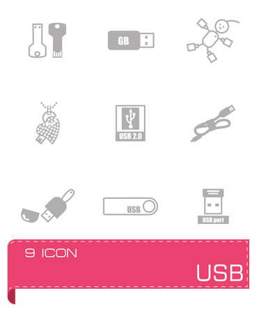 female connector: Vector USB icon set on grey background