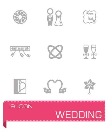 tailcoat: Vector Wedding icon set on grey background Illustration
