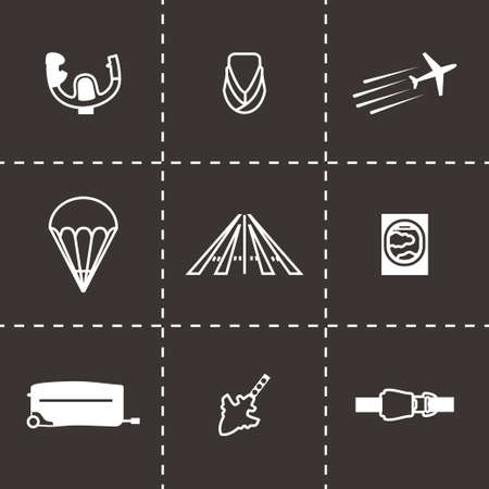 Vector Airplane icon set on black background Illustration