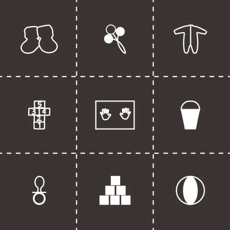 chamber pot: Vector Baby icon set on black background