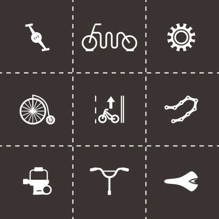 freeride: Vector Bicycle icon set on black background