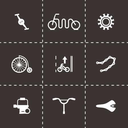 freeride: Vector icono de la bicicleta fija en el fondo negro