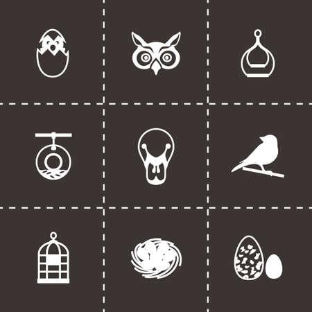 pigeon owl: Vector Bird icon set on black background