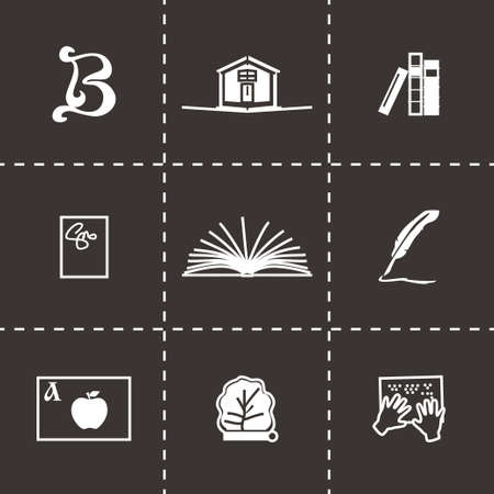 magazine stack: Vector Book icon set on black background