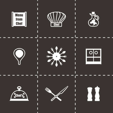 Vector Chef icon set on black background Vector